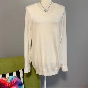 Joie White Kelsea Silk Sleeve Cashmere Sweater D8